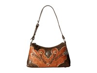 American West Desert Wildflower Shoulder Bag Golden Tan Distressed Charcoal Cream Shoulder Handbags Brown