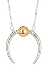 Rachel Zoe Mia Sphere Crescent Necklace Metallic
