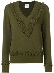 Barrie Embroidered V Neck Pullover Green