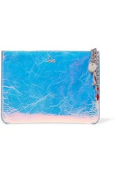 Christian Louboutin Loubicute Iridescent Textured Leather Clutch Silver