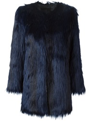 Unreal Fur Faux Fox Fur Jacket Blue