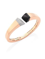 Roberto Coin Prive Pave Diamond Black Jade And 18K Rose Gold Bangle