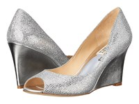 Badgley Mischka Awake Silver Glitter Women's Wedge Shoes