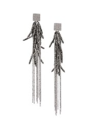 Brunello Cucinelli Vetro Silver Beaded Drop Earrings Rutenio