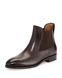 Salvatore Ferragamo Marrico Tramezza Burnished Calfskin Chelsea Boot Chocolate Women's