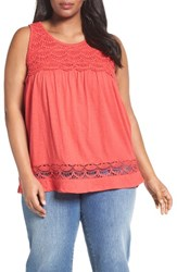 Caslonr Plus Size Women's Caslon 'Boho' Lace Trim Cotton And Modal Tank Red Saucy
