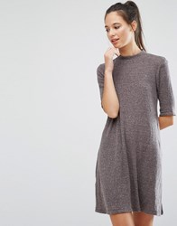 Only Ribbed High Neck Swing Dress Gray