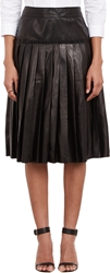 Barneys New York Pleated Leather Skirt Black