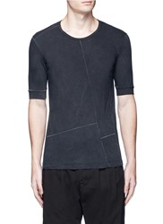 The Viridi Anne Contrast Seam Cotton T Shirt Black