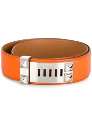 Hermes Vintage Stud Detail Belt Yellow Orange