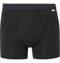 Schiesser Lorenz Stretch Cotton And Modal Blend Boxer Briefs Black