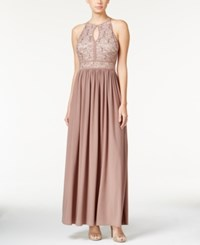 Morgan And Company Morgan And Co Lace Keyhole Gown Royal Taupe