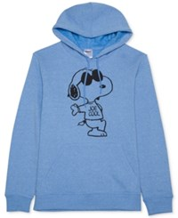 Jem Men's Snoopy Graphic Print Hoodie Medium Blue