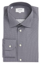 Eton Men's Big And Tall Slim Fit Print Dress Shirt Grey