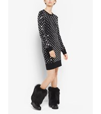Mirror Embroidered Cashmere Sweater Dress Black