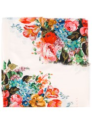 Gucci Floral Print Scarf Nude Neutrals
