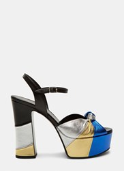 Saint Laurent Candy 80 Metallic Bow Platform Sandals Black