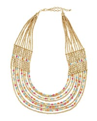 Panacea Multi Row Howlite Beaded Necklace Gold