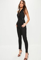 Missguided Black Sleeveless Wrap Tuxedo Jumpsuit