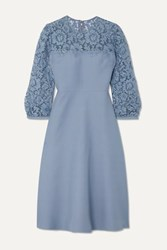 Valentino Guipure Lace Trimmed Wool And Silk Blend Crepe Midi Dress Blue