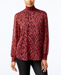 Ny Collection Printed Turtleneck Blouse Red Multi