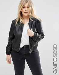 Asos Curve Bomber Jacket In Leather Look Black