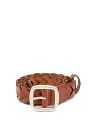 Etro Braided Leather Belt Tan