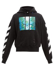 Off White Waterfall Print Cotton Hooded Sweatshirt Black Multi