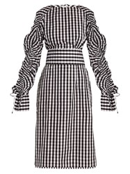 Teija Smocked Sleeve Cotton Gingham Dress Black White