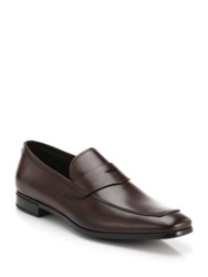 Prada Formal Leather Loafers Dark Brown