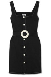 Solid And Striped Belted Cotton Blend Twill Mini Dress Black