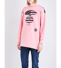 Aape By A Bathing Ape Contrast Back Cotton Blend Sweatshirt Pink