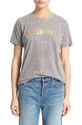Women's Rodarte 'Radarte' Short Sleeve Crewneck Tee Grey Gold