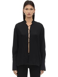 Khaite Athena Lace Up Crepe Satin Blouse Black
