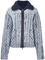 Maison Martin Margiela Cable Knit Printed Cardigan Blue