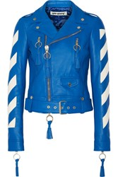 Off White Cropped Tasseled Leather Biker Jacket Bright Blue