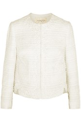 Giambattista Valli Guipure Lace Trimmed Tweed Jacket Ivory