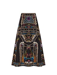 Valentino Embroidered A Line Midi Skirt