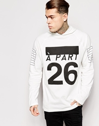 Asos Oversized Longline Hoodie Long Sleeve T Shirt With Print And Cuff Zips Offwhite