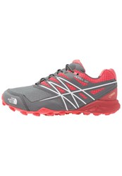 The North Face Ultra Mt Gtx Trail Running Shoes Cayenne Red Zinc Grey