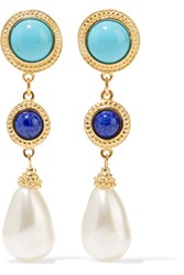 Ben Amun Gold Tone Faux Pearl And Enamel Earrings One Size