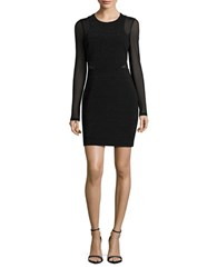 Guess Ribbed Mesh Accented Long Sleeve Sheath Dress Black