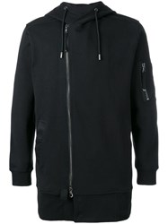 Diesel Black Gold Off Centre Zipped Hoodie Black