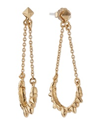 Pamela Love Tribal Spike Chain Drop Earrings Gold Plate