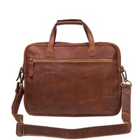 Mahi Leather Compact Lightweight Laptop Work Case Satchel Bag With 13 Capacity In Vintage Brown