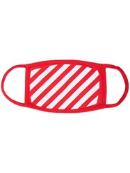Off White Diagonal Print Face Mask Red