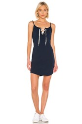 Monrow Lace Up Dress Navy