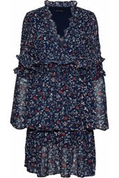 W118 By Walter Baker Ruffled Pleated Printed Crepe De Chine Dress Navy