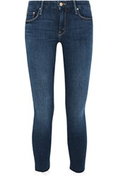 Mother Looker Cropped Frayed Mid Rise Skinny Jeans Dark Denim