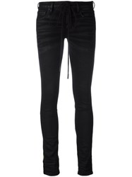 Off White Embroidered Skinny Trousers Women Cotton Spandex Elastane 28 Black